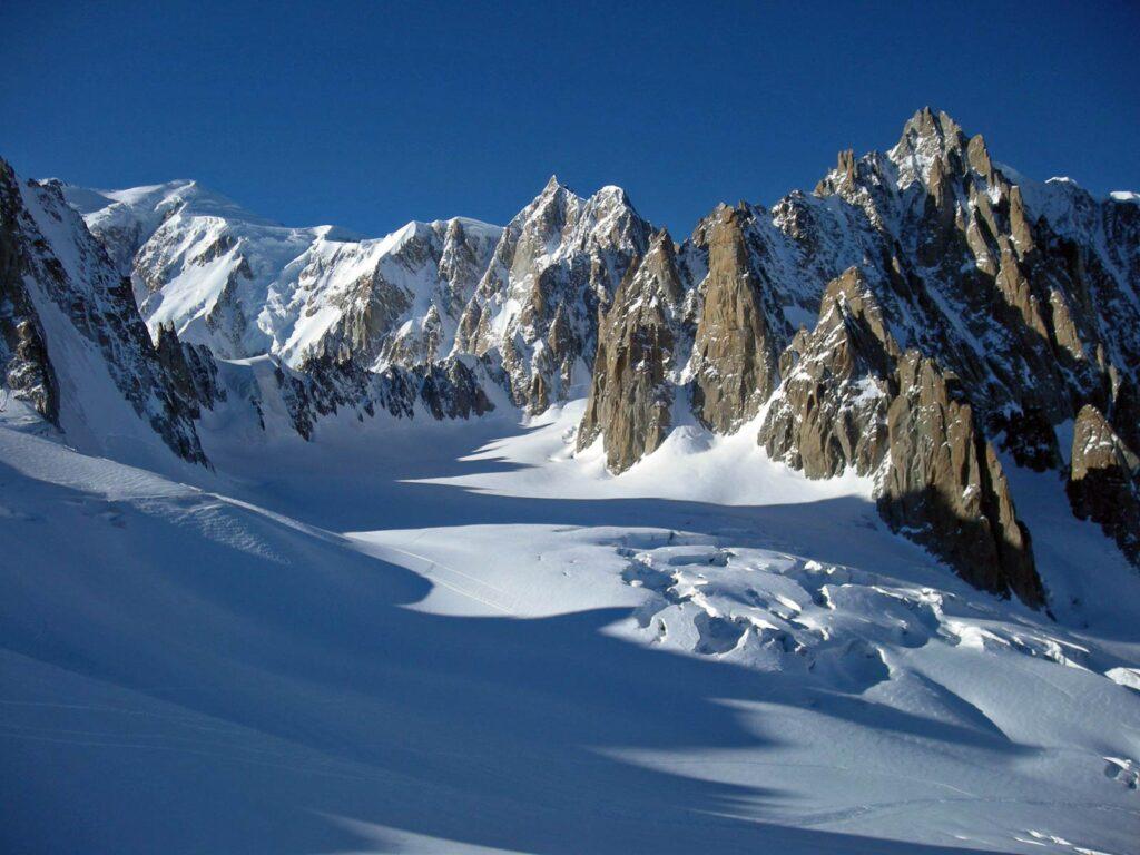 Il Monte Bianco dal ghiacciaio del Gigante.