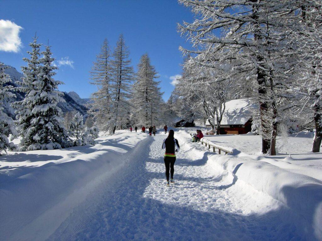 Running invernale in Val Ferret.
