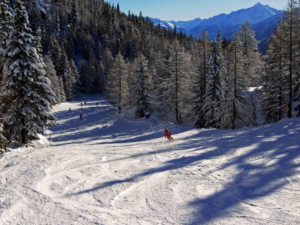 Pista da sci nel comprensorio Checrouit-Val Veny.