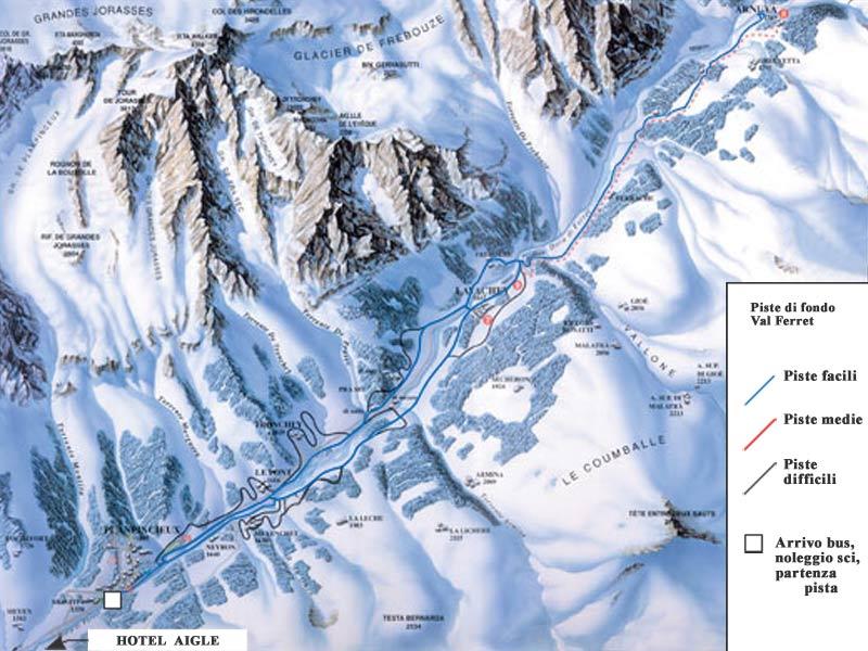 Mappa delle piste da fondo in Val Ferret.
